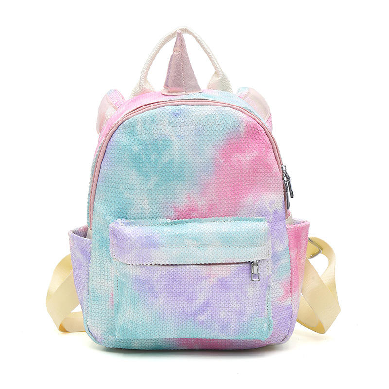 New rainbow glitter backpack for girls Casual Daypack Padded sequins backpack