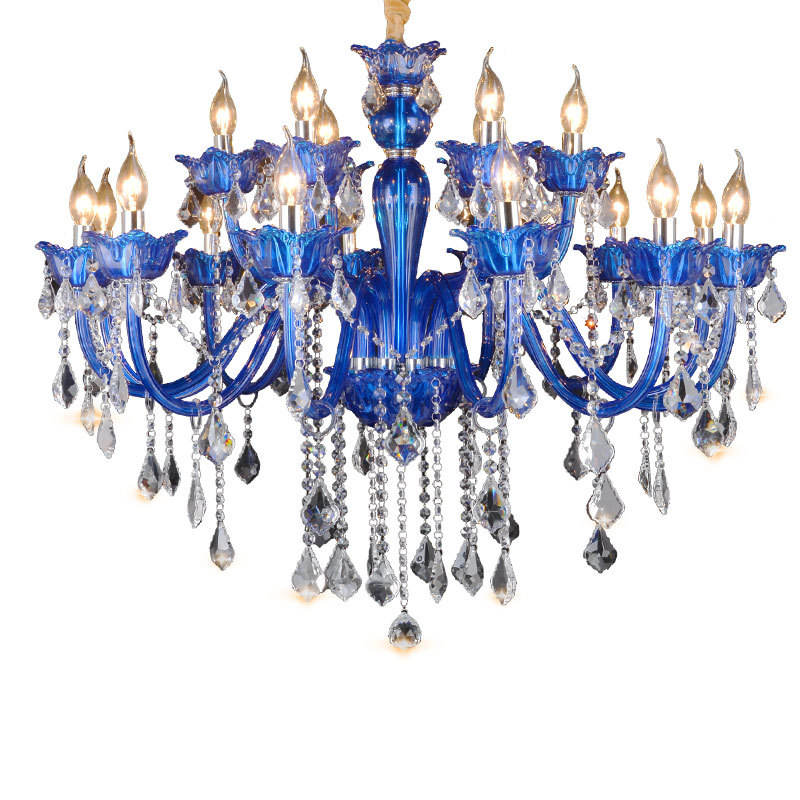 Luxury creative European style living room bedroom glass chandelier modern blue candle holder crystal chandelier