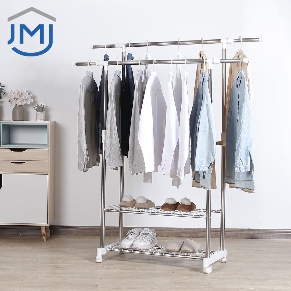 2021 JMJ Indoor Home Space Saving Movable Stainless Steel Storage Organizer Laundry Stand Hanger Clothes Drying Rack
