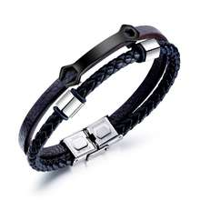 Originality Braided Leather Black Stainless Steel Blank Cuff Bangle Bracelet