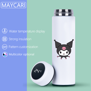 Cartoon Anime Thermo Mok 500 Ml Rvs Vacuümfles Flessen Tumbler Geïsoleerde Beker Thermische Intelligente Temperatuur