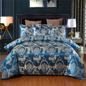 Luxury European Classical Style Super-soft Polyester 3 Piece Blue Satin Jacquard Bedding Duvet Cover Set