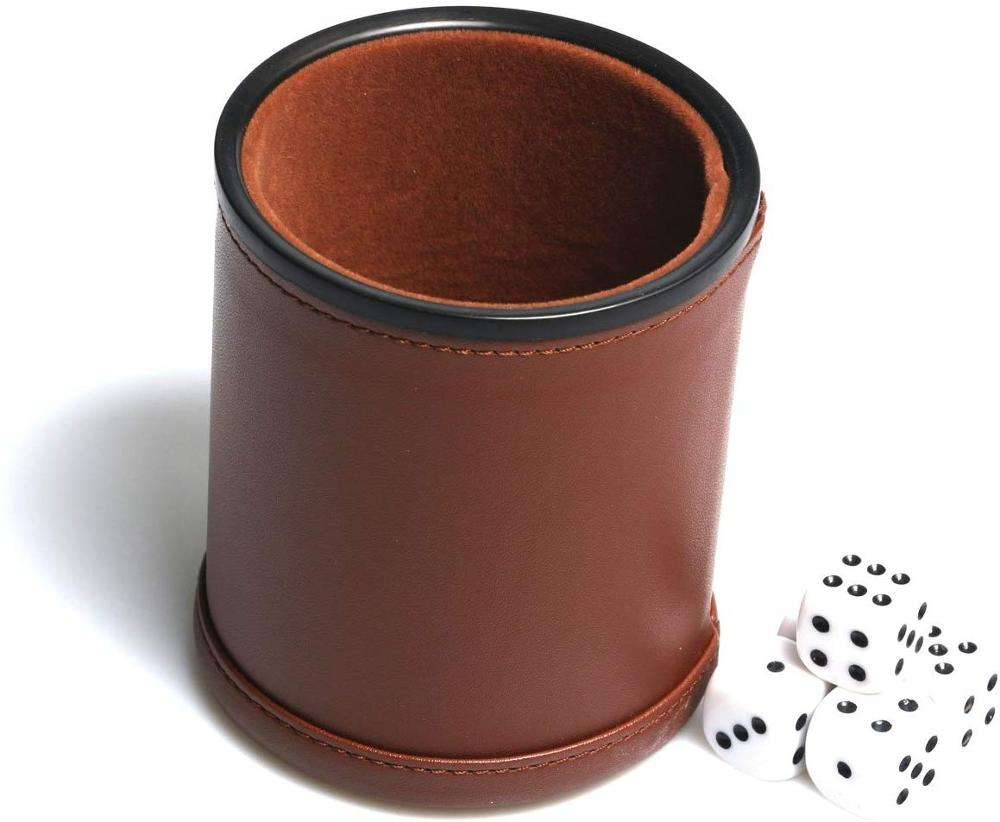 Factory Manufacturing Leather Dice cup with dice shaker game set