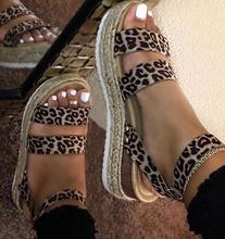 New large size muffin with buckle leopard pattern hemp rope braided wedge sandals