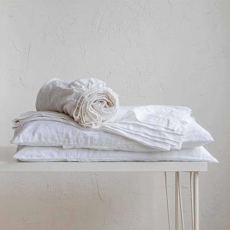 manufacturer luxury 100% pure French linen white fitted sheet single product
