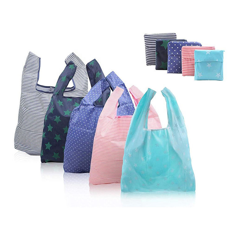 Reusable eco shopping bag nylon portable tote bag foldable supermarket bag