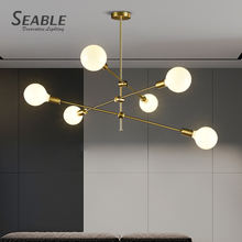 Wholesale Price Modern Lamp Milk Glass Golden Chandelier Pendant Light For Home Restaurant