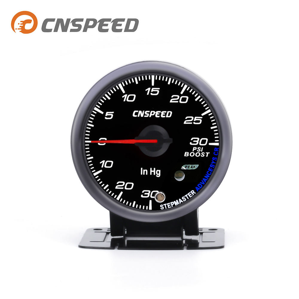 Cnspeed 2.5 ''60 Mm Pointer Putih Merah LED 30 PSI Meter Auto BOOST Gauge dengan Sensor Tekanan