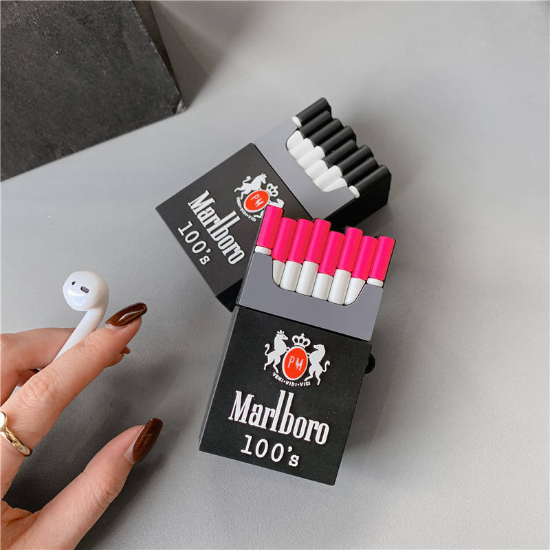 OEM 3D Cute Cigarette Box Design Earphone Case with Hook for Airpods 1/2 Funny Marlboro Case Style Protective Cover for Airpods