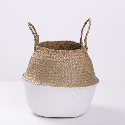 P356 Bamboo Handmade Basket Planter Multifunctional Laundry Straw Patchwork Wicker Rattan Seagrass Garden Flowerpot Planter