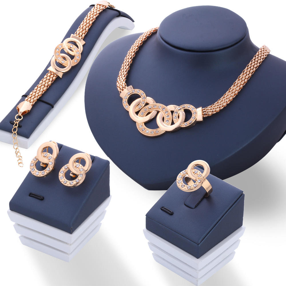 European and American jewelry set ornaments five ring set necklace earring bracelet ring four-piece set