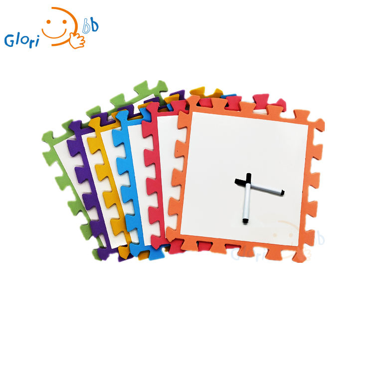 Kids education toys learning painting 30cm white board with pen eva foam set