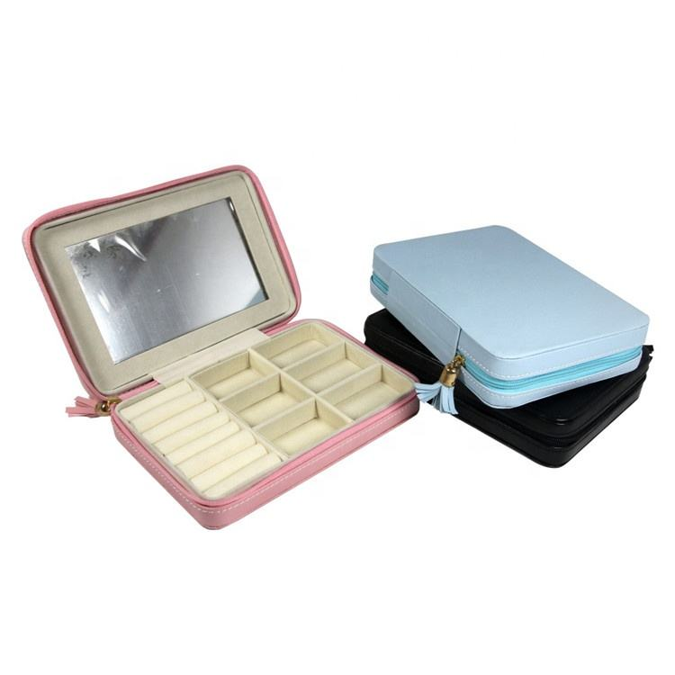 PU Leather Travel Jewelry Box for lady Organizer Display Storage Case for Rings Earrings Necklace Zipper Closure LG7193