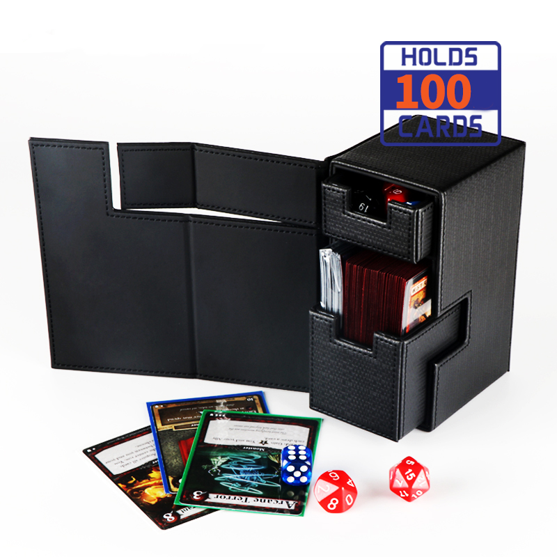 Customized Printed Flip PU Leather Board Game Card Protector Storage Deck Box for TCG