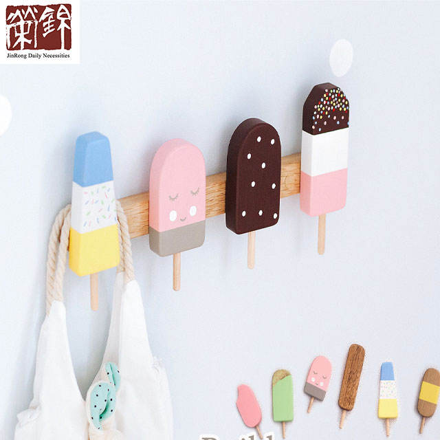 Cute Ice Cream Kids Coat Rack Wooden Hanger Nursery Decor Children's Playroom Hook Nice Color Ice Cream Hat Hanger