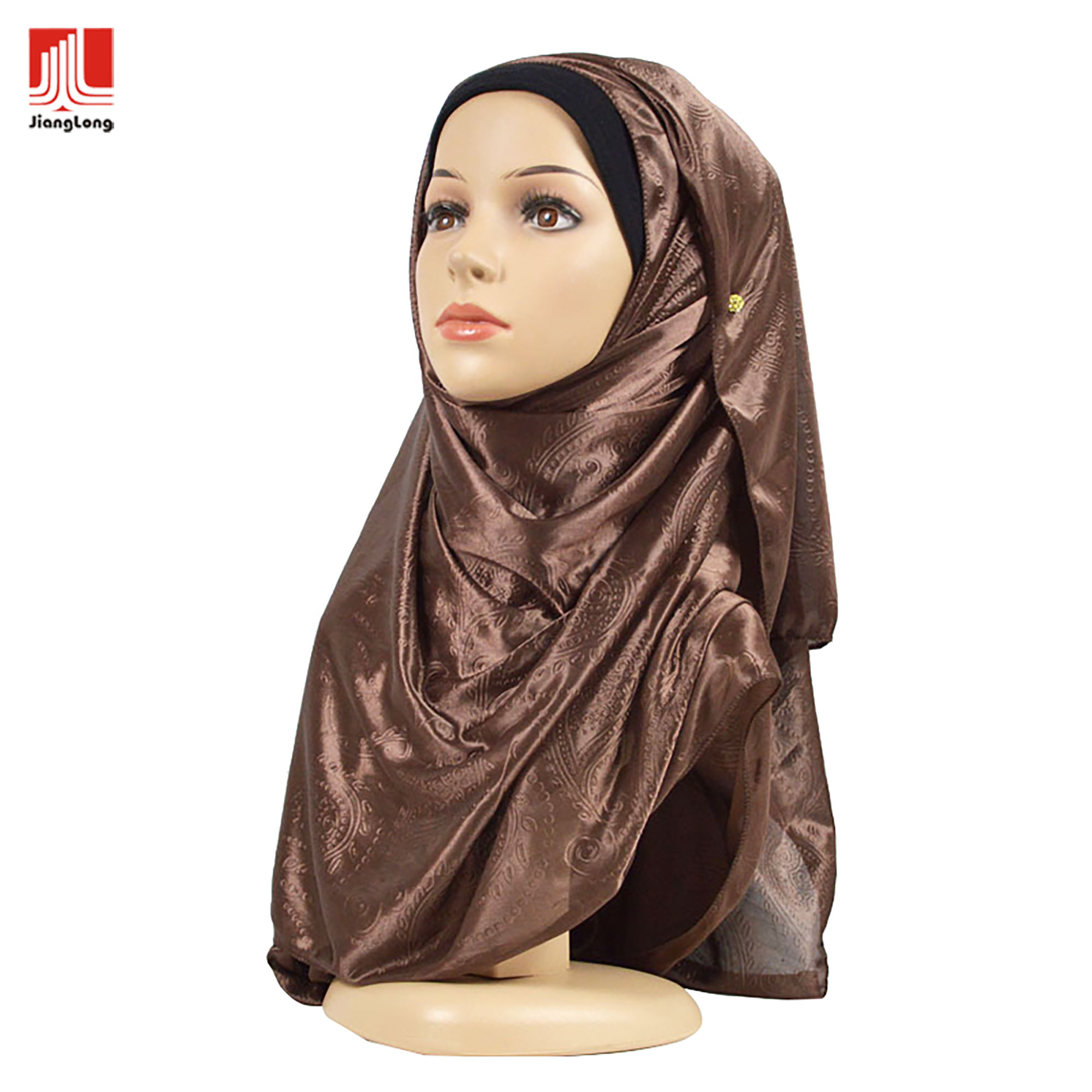 New design fashion soft lightweight solid paisley emboss muslim wholesale scarf women hijab