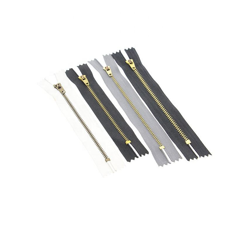 #3/#4 YG brass zipper of Semi-Lock Slider Black/Navy Color Tape Jeans Zipper for Clothes