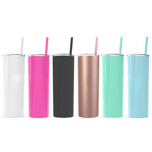 20oz double walled slim straight tumbler stainless steel sublimation blank insulated tumbler cups slim straight tumbler with straw