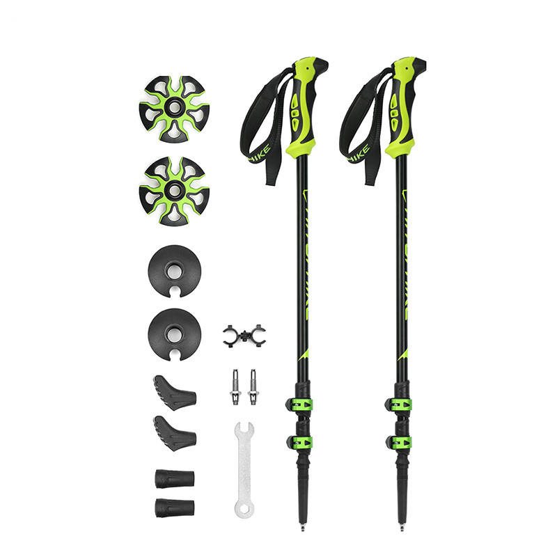 Hitorhike 2 Pcs Pack 7075 Aluminum trekking pole Green Adjustable LightWeight Hiking Sticks For Hiking Camping