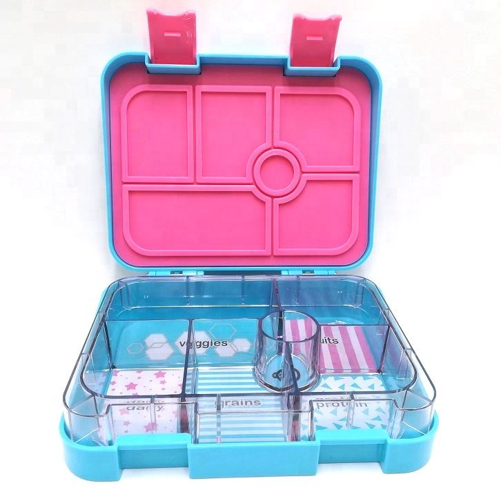 Leakproof Sealed Kids Lunch Bento Box 6 Compartments BPA Free Plastic Tritan Microwave Safe Reusable Japanese Thermal Lunch Box
