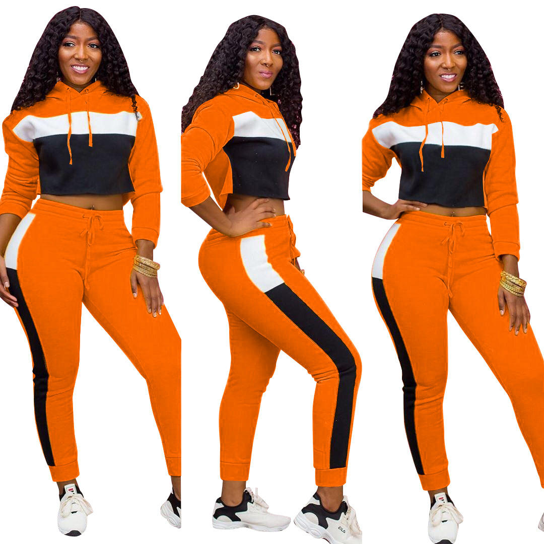 UK Gym 2Pcs Womens Ladies Tracksuit Hooded Sweatshirt Pants Set Sportswear Suit