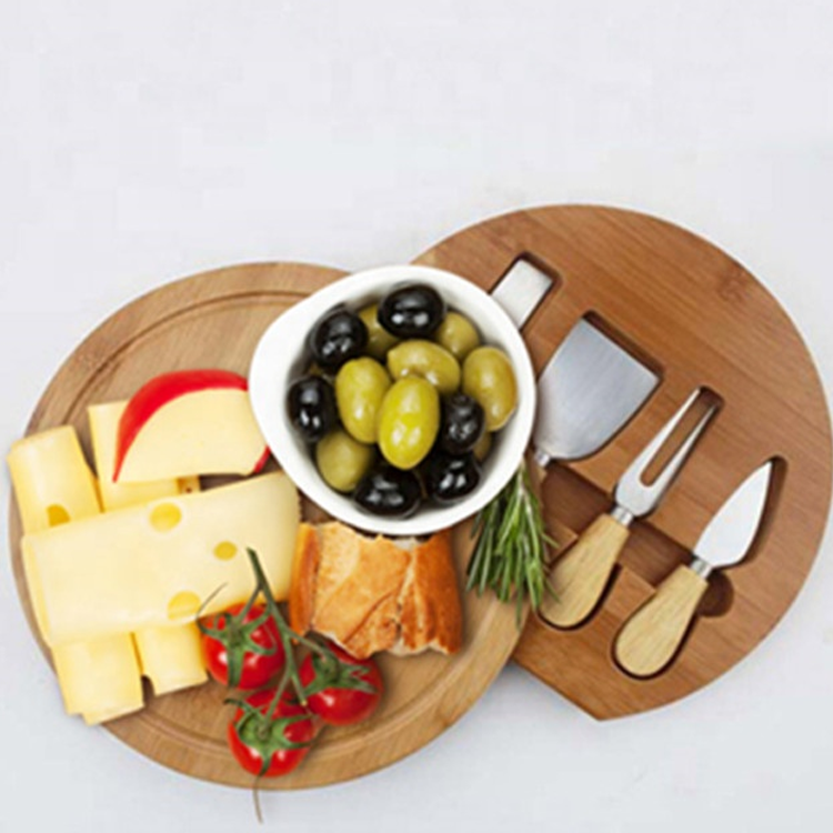 One-Stop Service [ Cheese Board ] Bamboo Wood Cheese Board With 4 Exquisite Cheese Cutting Tools