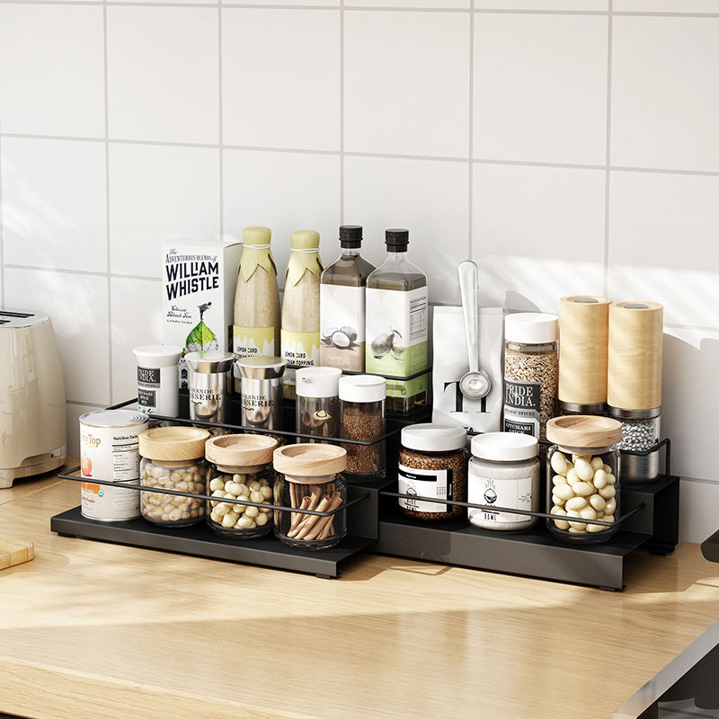 Favourable 3-tier Kitchen organizer Counter-top Spice rack Step design Stainless steel herb rack Storage Holders & Racks