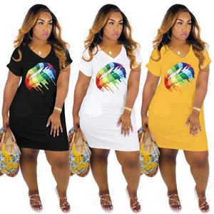 2019 latest hot sell European fancy 3 colors rainbow lip print oversized sweatshirt sports casual plus size dress