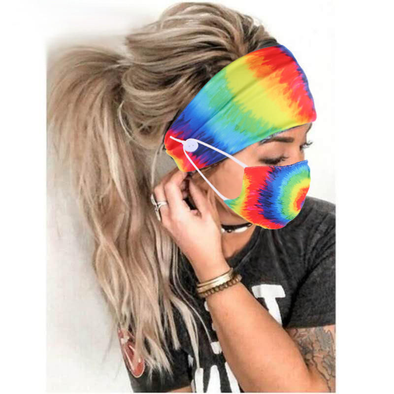 2pcs set for adult tie dye cotton button anti-leash hair with facemask headscarf accessories yoga movement elastic headband