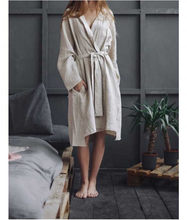 Women Shawl Collar Robe 100% Linen Short Robe Homewear Bathrobe sleepwear women Wholesale Cuatom Linen Robe