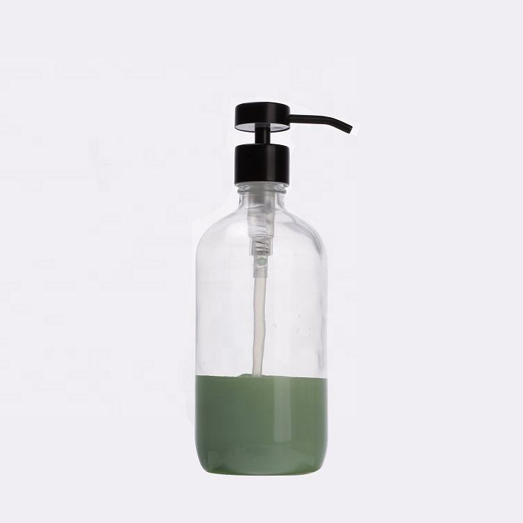 Glass Pump Bottle 16 OZ 500 Ml White Black Spray Bottle Glass Shampoo Amber Bottles With Trigger Lotion Pump