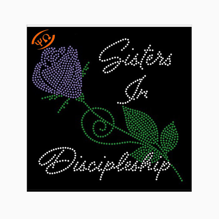 Hotfix motif Sister in Discipleship flower stem rhinestone transfer iron on