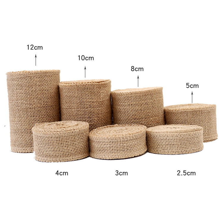 5M Natural Jute Burlap Hessian Ribbon Rolls Vintage Rustic Wedding Decoration Christmas Gift Wrapping Festival Party Home Decor