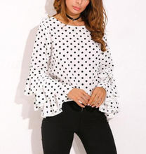 CA986 fall women clothing 2019 polka dot ruffle blouse shirt for lady