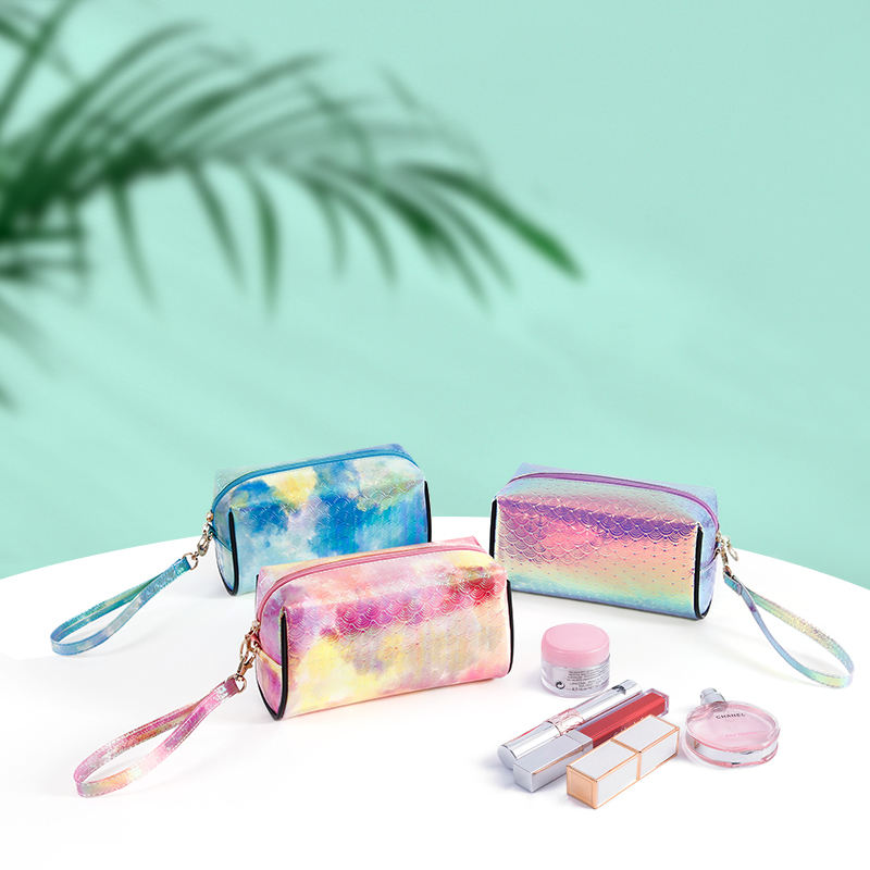 Holographic makeup bag cosmetic shiny rainbow pouch cosmetic case makeup brush bag zipplog bag beauty