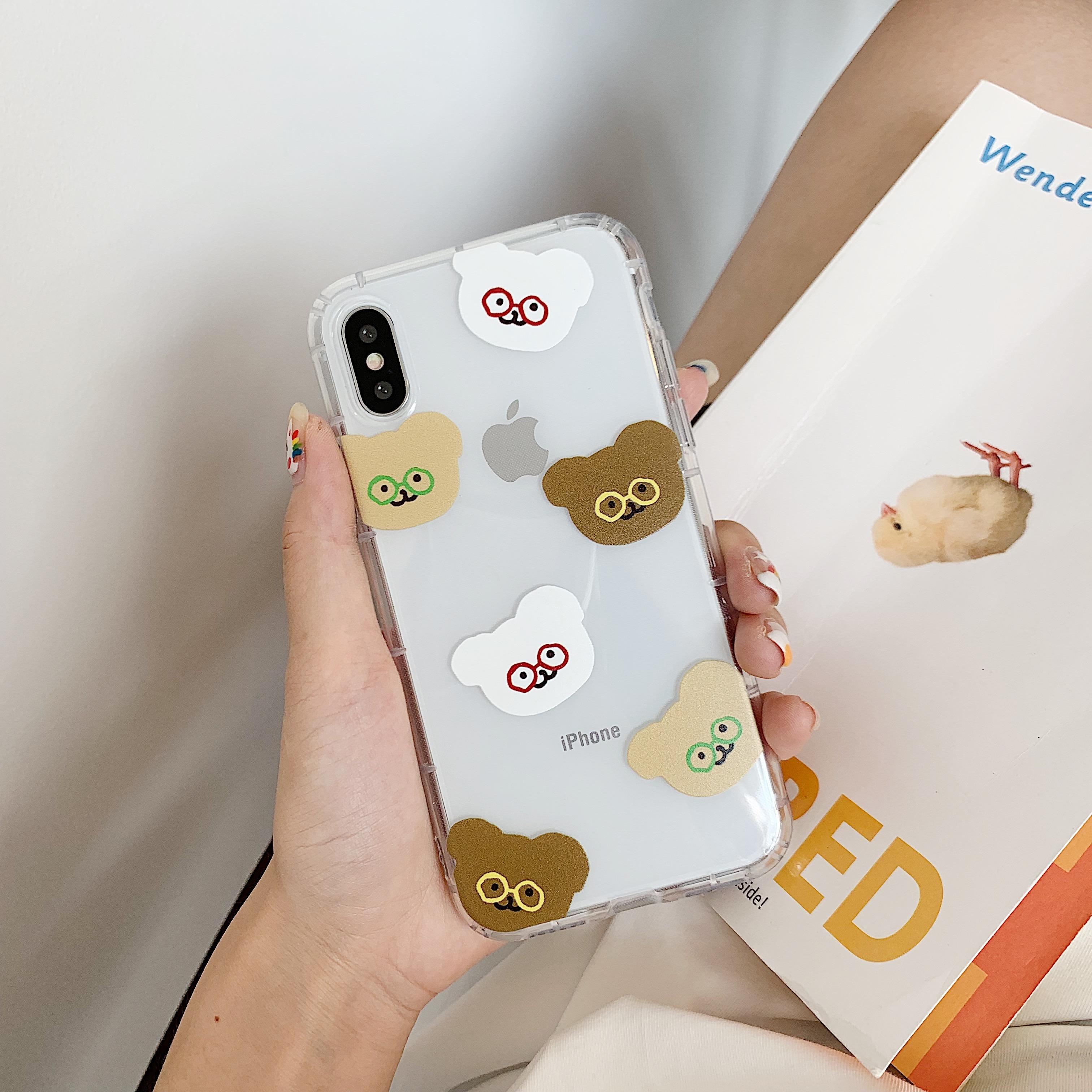 Wholesale shockproof transparent clear cute cartoon teddy bear with glasses soft TPU phone case for iPhone 6/7/8/X/XS/XR/XS MAX