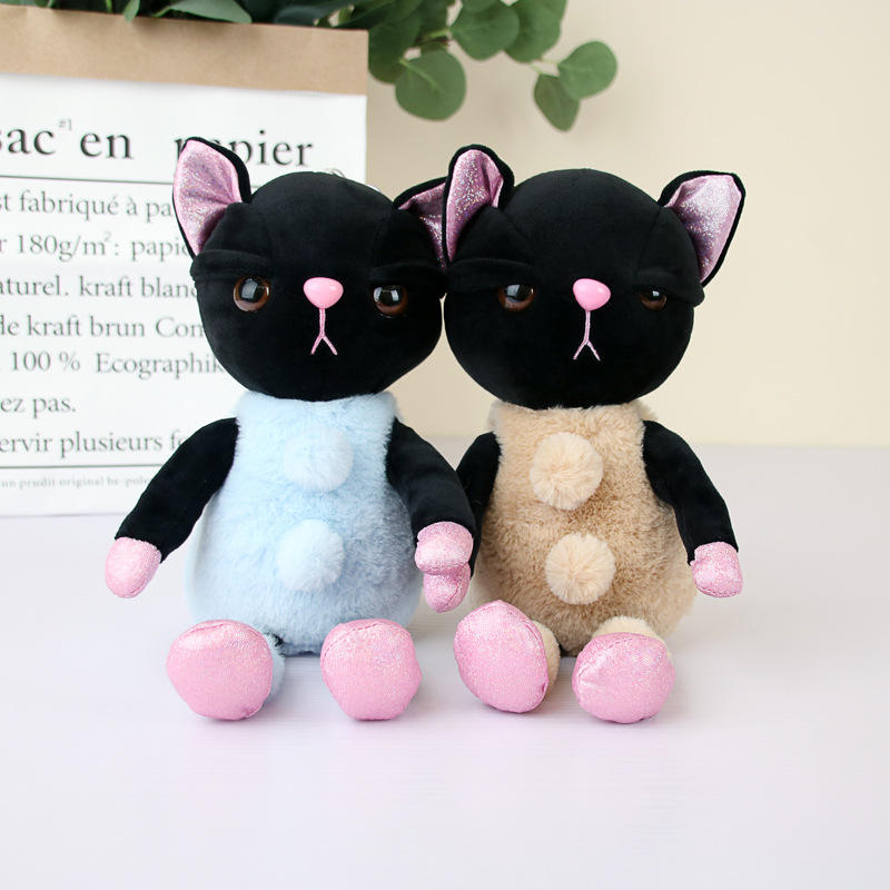 China Manufacturer Wholesale Stuffed Black Cat Plush Doll Cute Cat Soft Toy