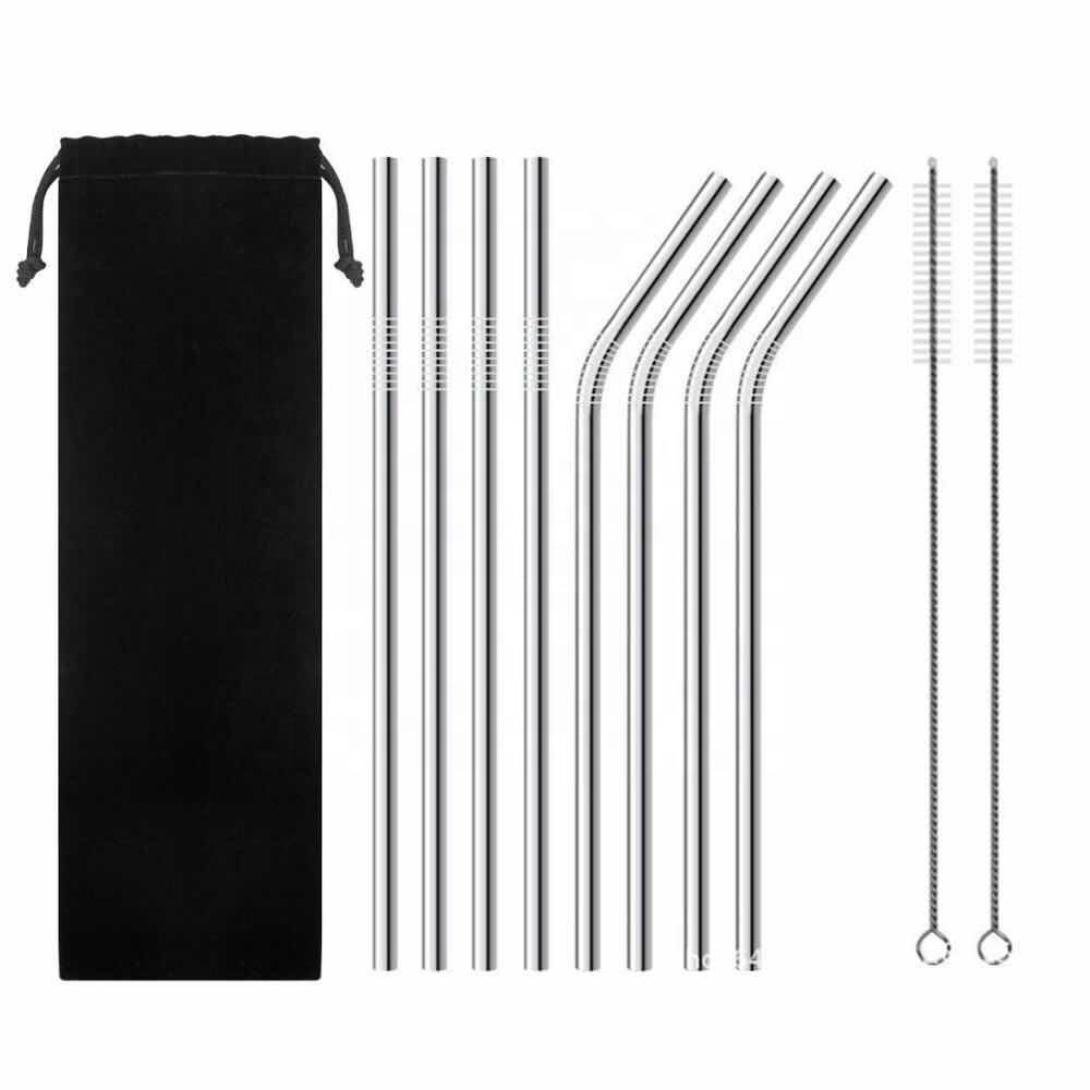 Custom Logo Metal 12mm Straw Set Set of 8 Reusable Stainless Steel Metal Straws 4 Straight 4 Bent 2 Brushes 1 Pouch