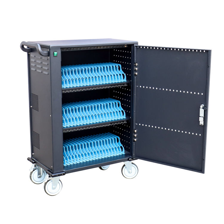 60 Ways USB Single Open Iron Door Storage Carts Lock Mobile Laptop Cart Cell Phone Charging Cabinet