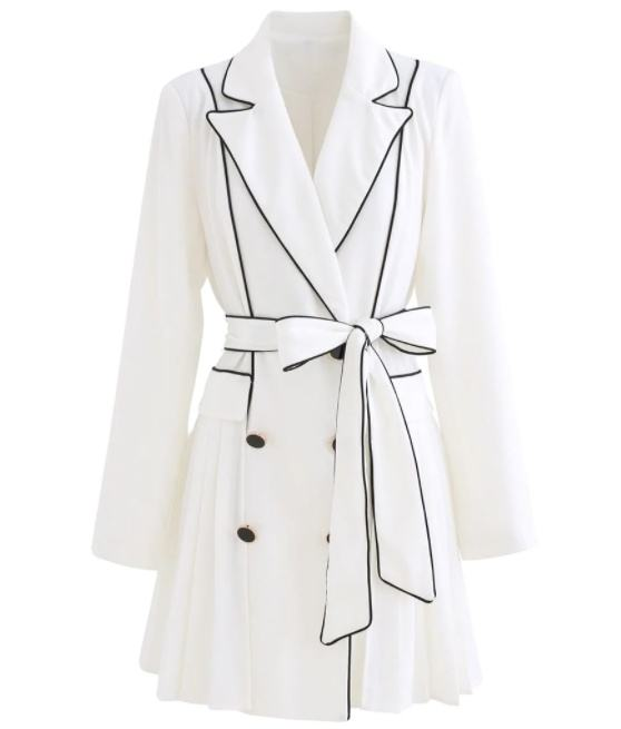 Customized Logo Women's Piped Double Breasted Pleated Blazer Dress
