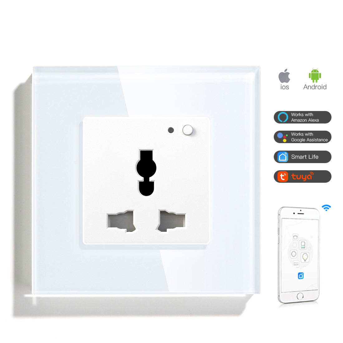 Universele Fabricage App Afstandsbediening Elektrische Smart Wifi Switch Thuis Plug Azië <span class=keywords><strong>Socket</strong></span> Smart Home Wifi
