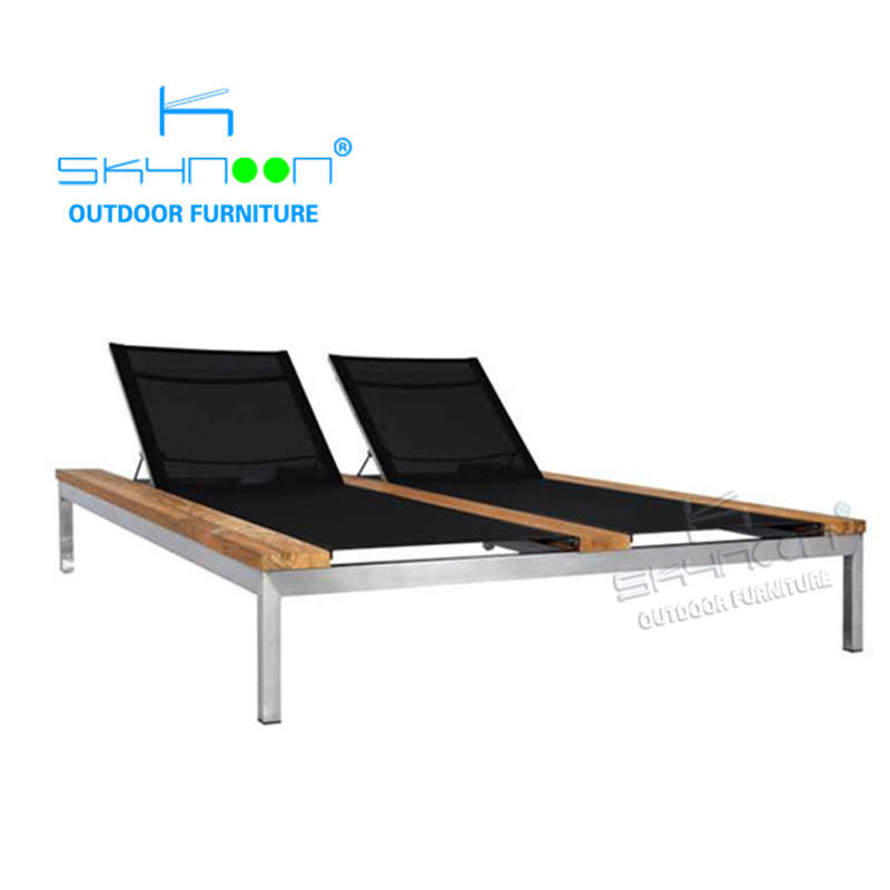 garden furniture sunbeds all weather wooden pool lounge bed garden daybed swing pool side wood sun lounger(63002)
