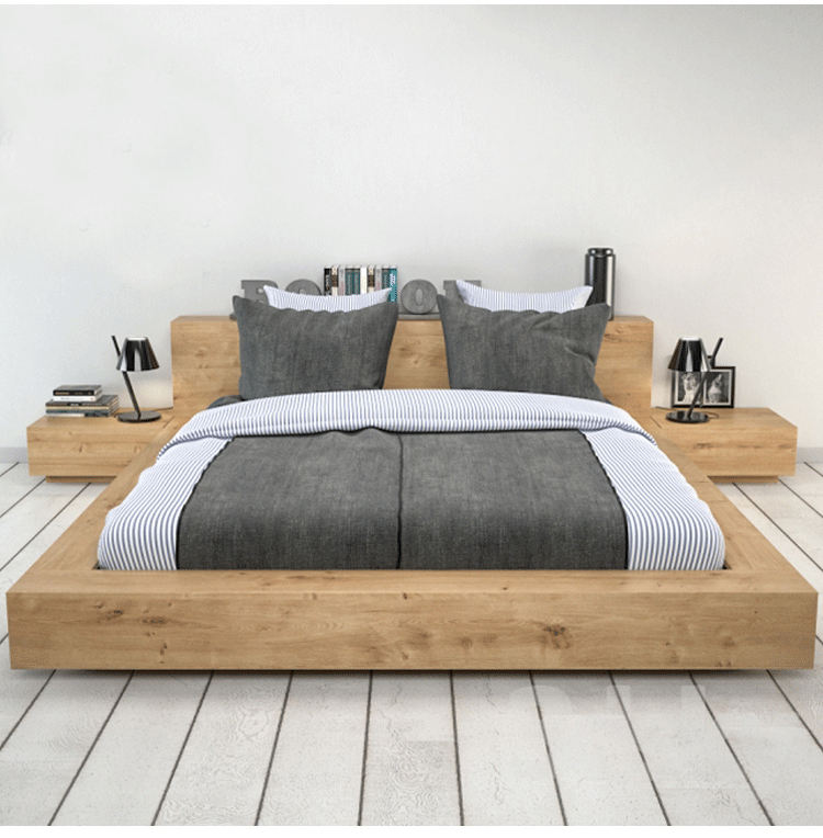 Factory Price Manufacture Wholesale Wooden Soom Furniture Solid Tatami Bed Designs Single Wood Bed