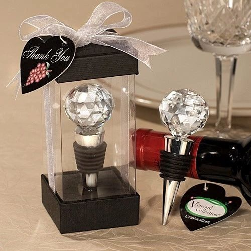 Crystal Ball Red Wine Bottle Stopper Wedding Bridal Party Favors Gifts