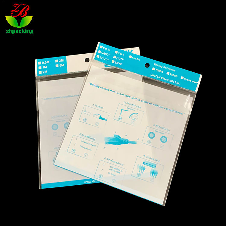 Shenzhen factory custom stationery, cable and cable plastic packaging bag OPP/CPP printing card head bag