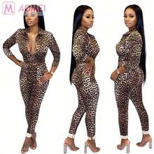 Y1126 new sexy button front printed bodycon casual Leopard Trendy Rompers Womens Jumpsuit