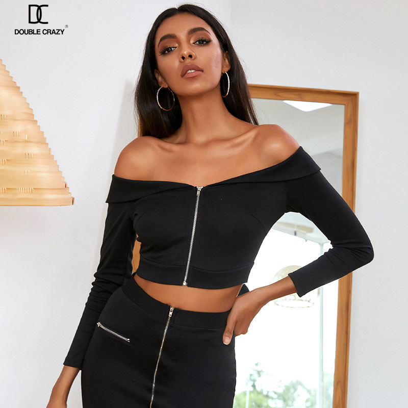 Weixin дропшиппинг двойной Crazy Fold Off Shoulder Zip Up Crop Top