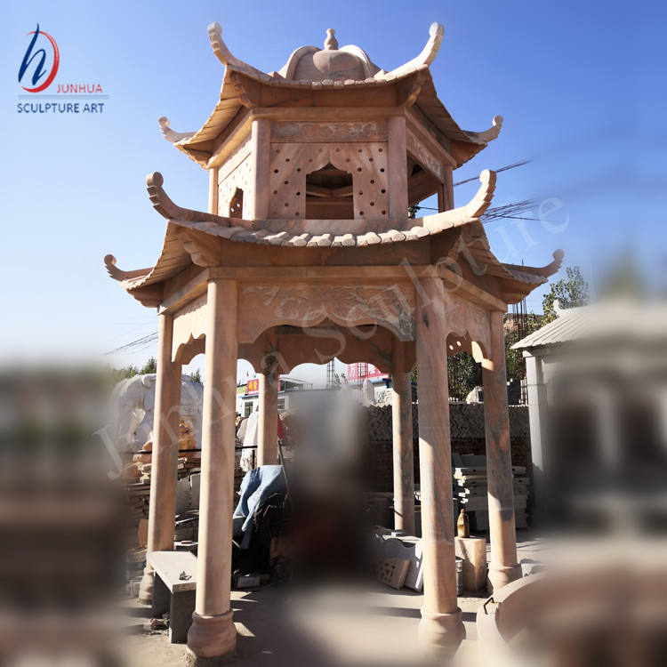 Chinese Style Natural Stone Marble Sunset Red Gazebo Stock