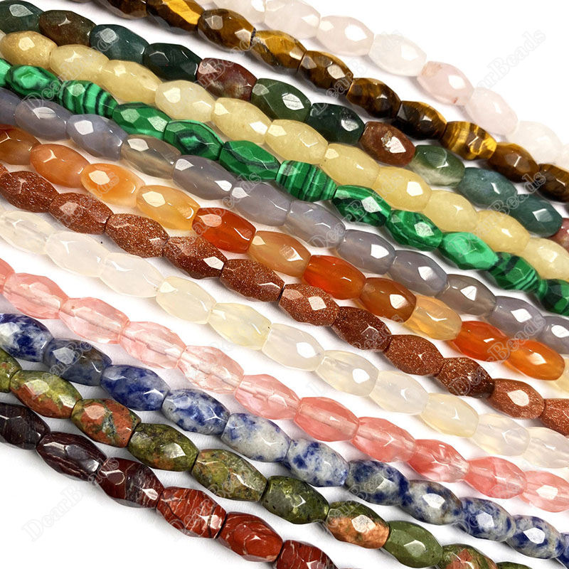Hot Sell Faceted Rice Gemstone Beads Strand, 6*9 mm, Malachite Goldstone Jasper Mahogany Obsidian Unakite For DIY Jewelry Making