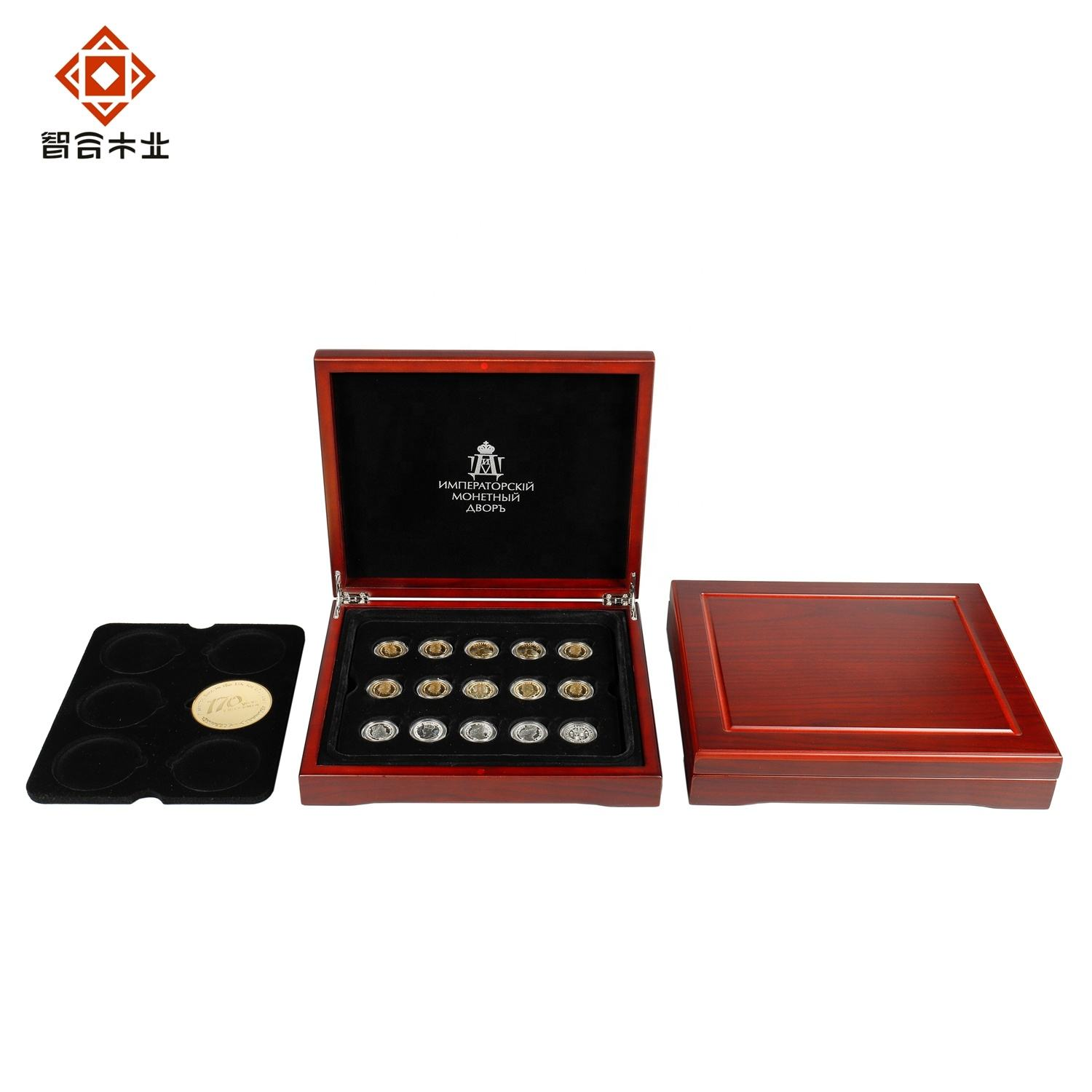 Vintage Design Style Luxury Wooden Gold Silver Coin Collection Gift Box With Movable Tray